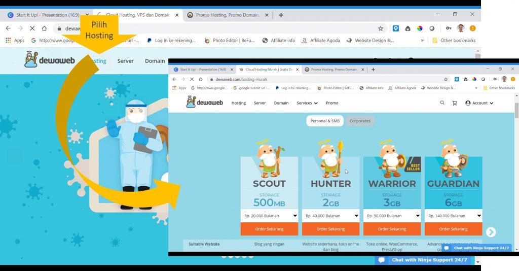 Langkah 2 langkah menyewa hosting dan membeli domain